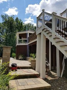huge deck with gazebo and kitchen