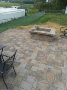 Stone paver patio with fire pit